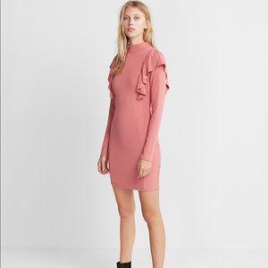 Express Ruffle Front Ribbed Sheath Dress